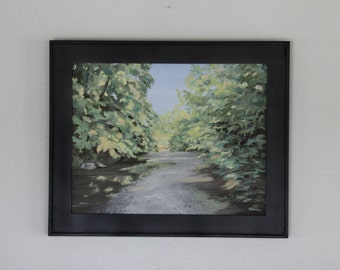 "11 X 14 inch Original Oil Painting, Framed Painting, ""The Creek at Mill Creek looking North"", Honeoye L.Outlet, Companion Painting Available"
