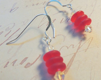 Dangle, Earrings, Red, Czech Glass, Swarovski, Crysta,l Beaded, Silver