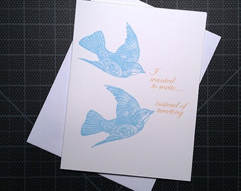 "Stationery Card 4"" x 5.5"" - Write instead of tweeting"
