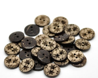 10 Brown Coconut Shell Buttons 15mm -  Wildflowers (BC618)