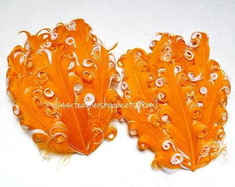 SET OF 2 - Orange on White Nagorie Curled Goose Feather Pads - NEW Curlz Line