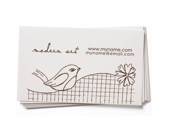 Business Card Stamp - Custom Stamp - Custom Rubber Stamp - Personalized Stamp - Bird - BC36
