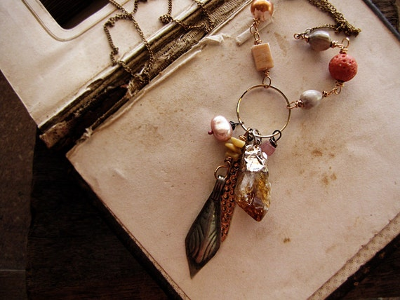 sun shaman - citrine crystal necklace - charm cluster - opera length chain - romantic tribal