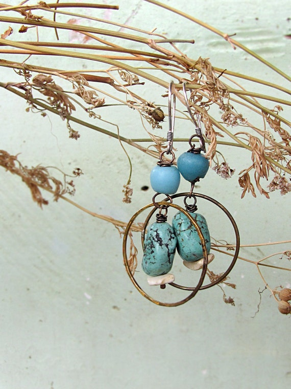 southwstern boho hoops - antique glass - turquoise howlite - rustic romantic