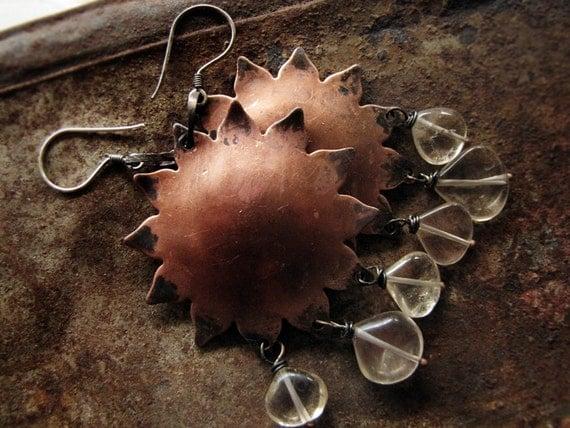 Nebra - Tribal Metal Earrings - Bohemian Copper Sun Disc - Citrine Crystal - Kim Craftsmen findings