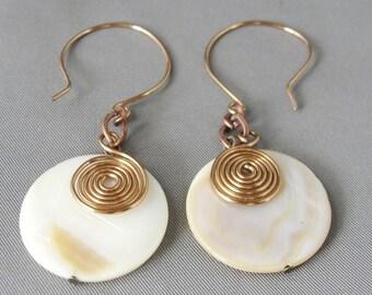 Shell and Copper Swirl Earrings
