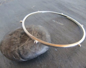 Sterling Silver Bangle with Recycled Dots