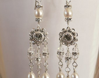 Crystal and Pearl Chandelier Earrings.