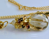 Rutilated Quartz Gemstone Necklace,Pink Garnet,Scapolite,Honey Quartz 14k Gold Filled Wire Wrapped Necklace Godiva