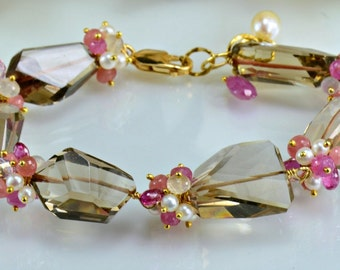 Smokey Quartz Bracelet,Pink Sapphire,Pearl, 14k Gold Filled Gemstone Wire Wrapped Bracelet