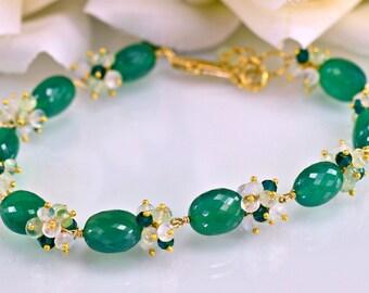 Green Onyx Gemstone Bracelet Wired Bracelet Moonstone Prehnite Quartz 14k Gold Filled Bracelet