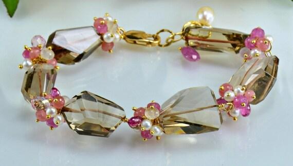 Sale Storewide-Smokey Quartz Bracelet,Pink Sapphire,Pearl, 14k Gold Filled Gemstone Wire Wrapped Bracelet