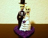 Dark Purple Cake Topper Till Death Do Us Part Dia De Los Muertos - Halloween, Wedding, Engagment Party, Day of the Dead