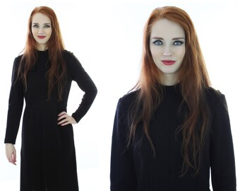 60s Black Wool Dress 60s Vintage Sixties Wiggle Shift  With Pockets 1960s 70s 1970s Small S M Medium
