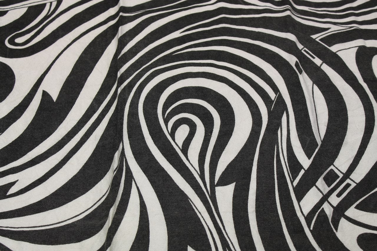 Vintage 1960s black amp white psychedelic swirl curtains drapes