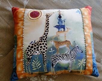 Safari Stack Animals Beaded Pillow