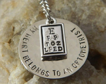 My Heart Belongs to an Optometrist Handstamped Necklace