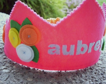 Bright Pink Posey Birthday Crown