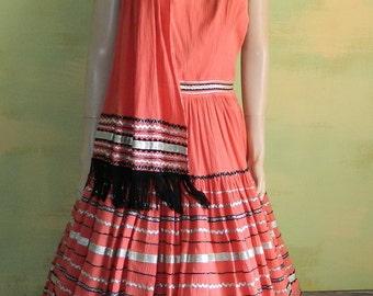 S 40s 50s Vintage Coral Orange Patio Dress Shawl Scarf  Western Circle Dance Party Squaw Dress Rockabilly