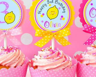 Pink Lemonade Cupcake  Toppers with Bows, Pink Lemonade Birthday Party - Set of 12