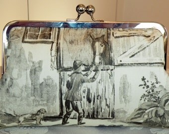 Equestrian Clutch/Purse/Bag..Horse and Rider Jumper..Cream with Gray Cotton Designer Toile Fabric