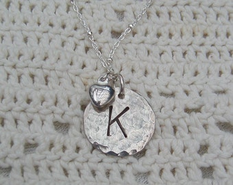 Sterling Silver Personalized INITIAL Necklace on Sterling Silver Chain