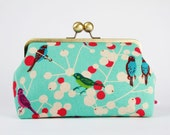 Home pouch - Etsuko Cherry in turquoise - metal frame clutch bag