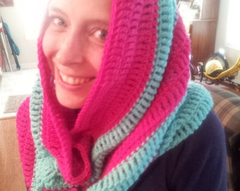 Crochet Cowl Hood, Crochet Cowl Scarf, Summer CLEARANCE EVENT Snood, Hooded Capelet, Large Cowl, Shocking Pink, Aruba Sea, Ready to Ship