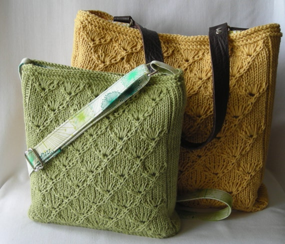 Knitting Bag Pattern : Knitted Hipster Purse and Tote - Knitting Pattern PDF - Espalier Bags ...