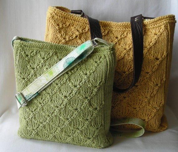 Knitted Tote Bag Pattern : Summer Knitted Hipster Purse and Tote Knitting Pattern PDF