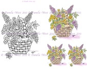 Digistamp Instant Download. Basket of Lilacs  Digital stamp and coloured stamp