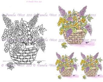 Digistamp Instant Download. Basket of Lilacs  Digital stamp and coloured stamp