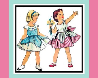 Vintage 1955-Adorable Little Girls Asymmetrical Over Lay- Full Twirl Dress -Sewing Pattern -Petticoat- Embroidery Transfer Size 1- Mega Rare