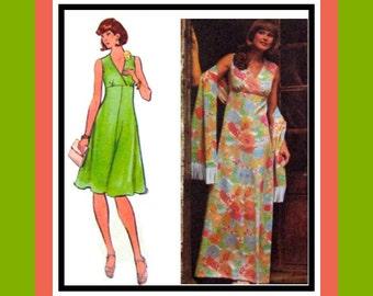 Vintage 1970s-Empire Waist -Evening -Day Dress -Fringe Stole- Sewing Pattern- Criss Cross Surplice Bodice- Deep V Neckline -Size 12 - Rare