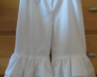 Childs double ruffle capris or long pants size 3t up to 8 any color