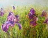 Final Sale on NEW - Original Iris Flowers Palette Knife Fine Art  Impressionism Oil Painting by Shevanthi