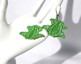 EARRINGS - Frogs - Apple Green - Tree Frog - Free Standing Lace Embroidery