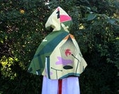 Reversible Cape - Soft Pink Corduroy with a Bird Cage Lining One Size
