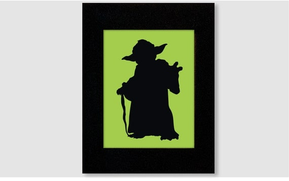 Star Wars Yoda Silhouette Print 8X10 for boys roomYoda Silhouette Black