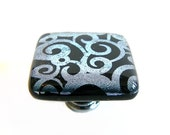 Black with Silver Swirls Etched Dichroic Glass Knobs