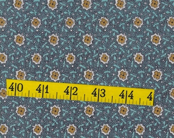 Vintage, fat quarter,blue green with tan flowers, cotton fabric, quilting, sewing, crafting
