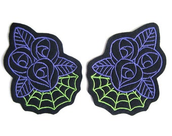 Rose patch with Web (more and custom colors available) by Dolly Cool Psychobilly