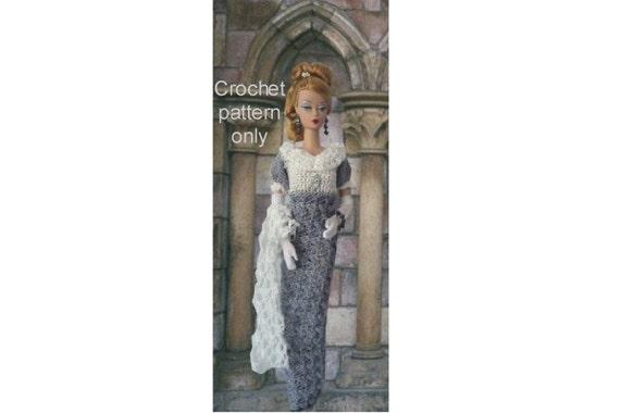 Crochet pattern (PDF) Jane Austen era gown and stole for Silkstone Barbie doll