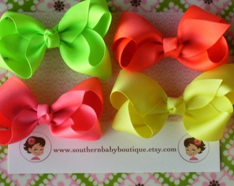 INVENTORY BLOWOUT SALE----Simple Medium 3 Inch Hair Bow Lot----Neon----Ready to Ship----