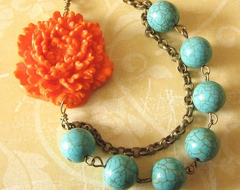 Flower Necklace Turquoise Jewelry Bib Necklace Orange Statement Necklace Bridesmaid Jewelry Gift For Her