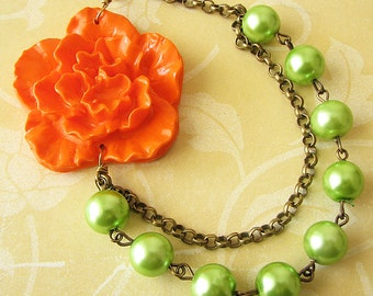 Statement Necklace Flower Necklace Orange Jewelry Lime Green Bib Necklace Bridesmaid Jewelry