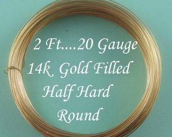 2 Ft- 20g 14k Gold Filled Round Wire,  Half Hard