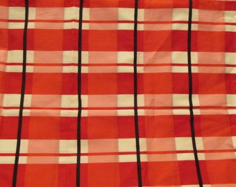 Vibrant Vintage Plaid Cotton Fabric 1 1/4 yards x 38 inches SALE