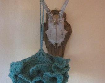 Crocheted Tassle in Turquoise from Vintage Cotton Yarn