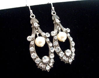 Bridal earrings,  vintage style earrings, wedding earrings with Swarovski crystals and Swarovski ivory  pearls, wedding jewelry